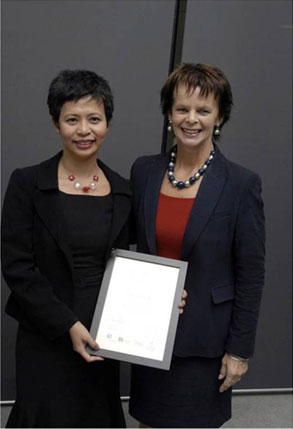 Ms.Mylene Freires her awards from UK Heath Minister Anne Milton MP