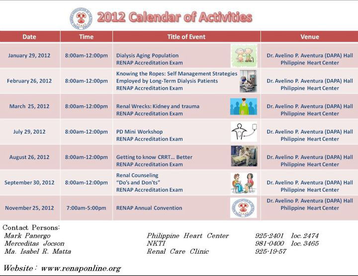 RENAP Schedule for 2012
