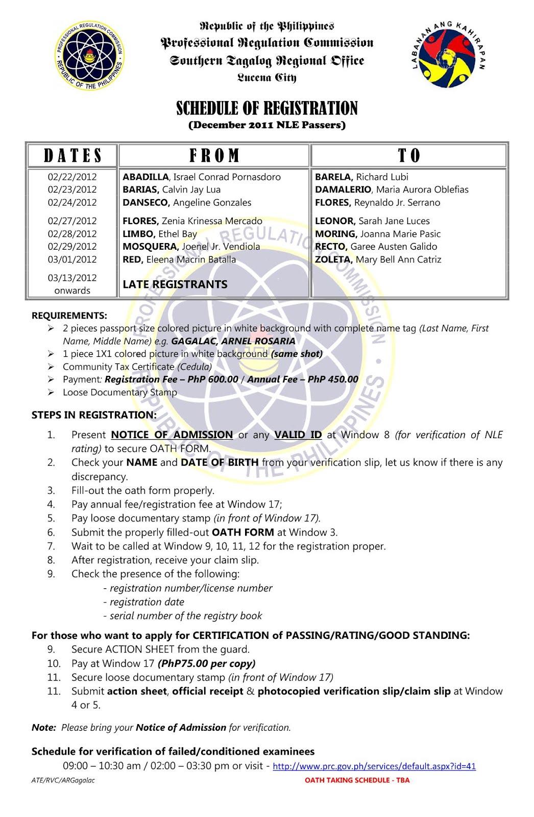 December 2011 NLE Passer Lucina- Schedule of Registration