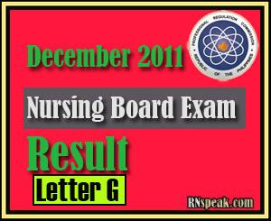 Letter G December 2011 Nursing Board Exam