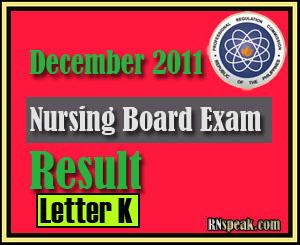 Letter K December 2011 Nursing Board Exam