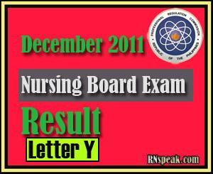 Letter Y December 2011 Nursing Board Exam