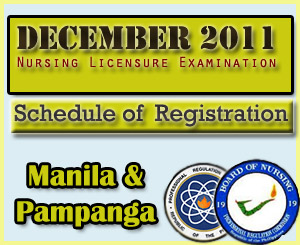 Registration Schedule for December NLE 2011 Passers-Manila & Pampanga