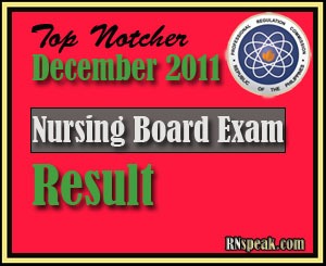 Topnotcher of December 2011 Nursing Board Exam