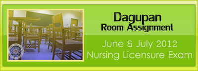 Dagupan  room assignment June and July 2012 NLE