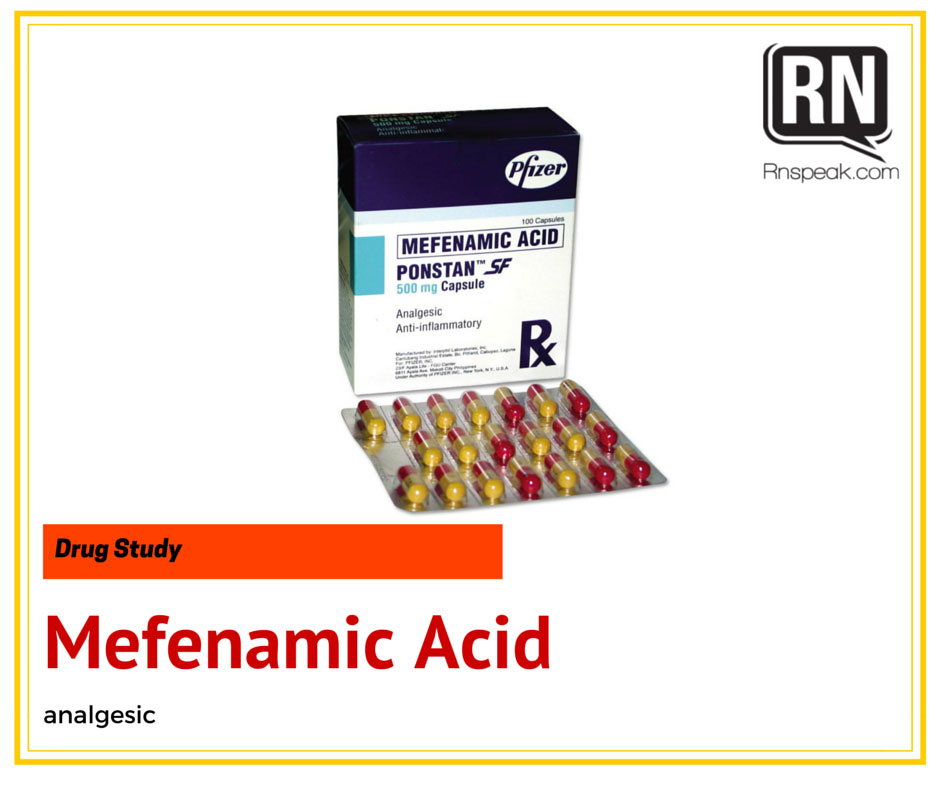 Mefenamic Acid (Ponstan) Drug Study