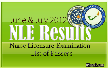 June and July 2012 NLE Results1