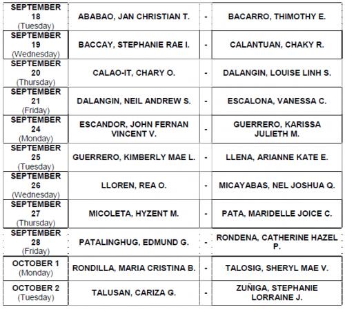 MANILA JULY NLE 2012 REGISTRSTION SCHEDULES