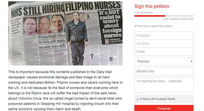 Sign-a-Petition for daily mail racist in filipino nurse